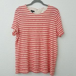 Talbots 1XP striped blouse sequin ruffled stripes